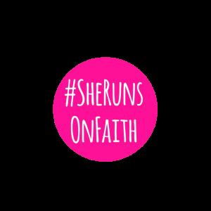 #SheRunsOnFaith Badge